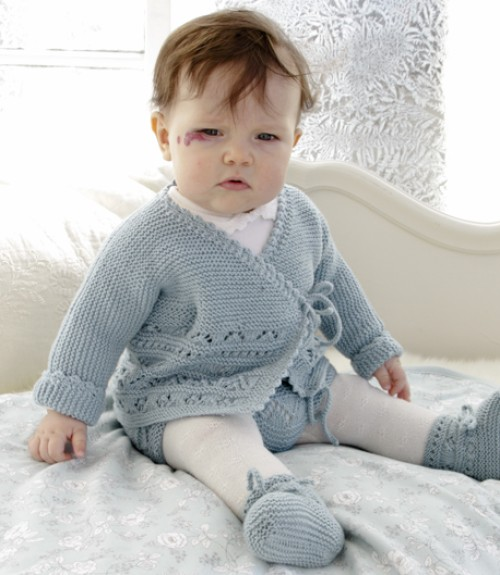 Baby Jacket & Slippers with Lace Pattern & Garter Stitch