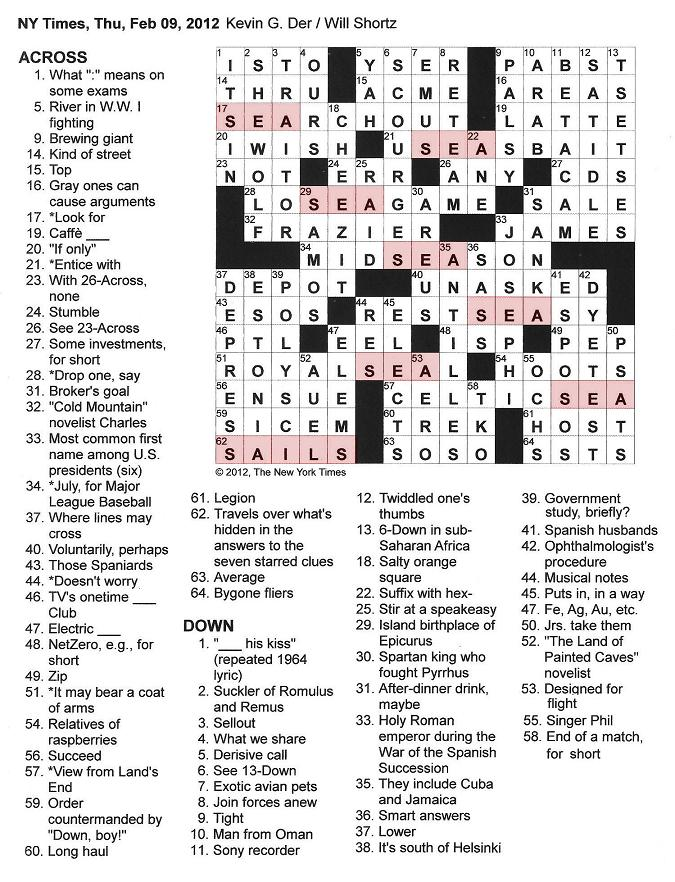 The New York Times Crossword in Gothic: 02.09.12 — Seven Seas