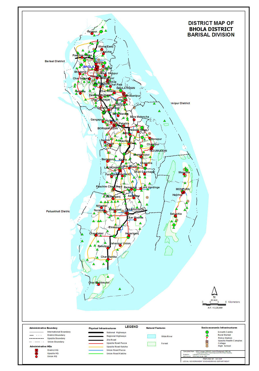 Bhola District Map Bangladesh