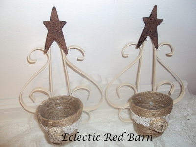 Eclectic Red Barn: Painted Sconces with Jute Votives as Candleholders