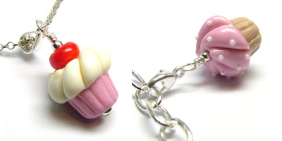 Lampwork glass cupcake bead pendant and charm