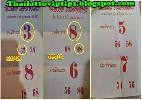 Thai Lottery 3up Touch Tip 16-06-2014