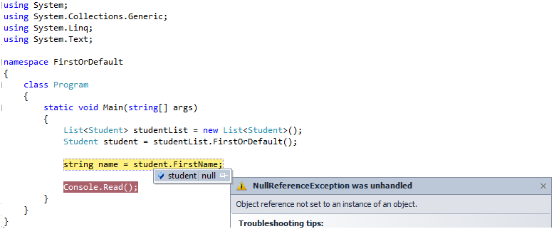 FirstOrDefault extension method and when it will return null