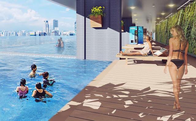 Bể bơi bốn mùa với không gian view đẹp từ trên cao