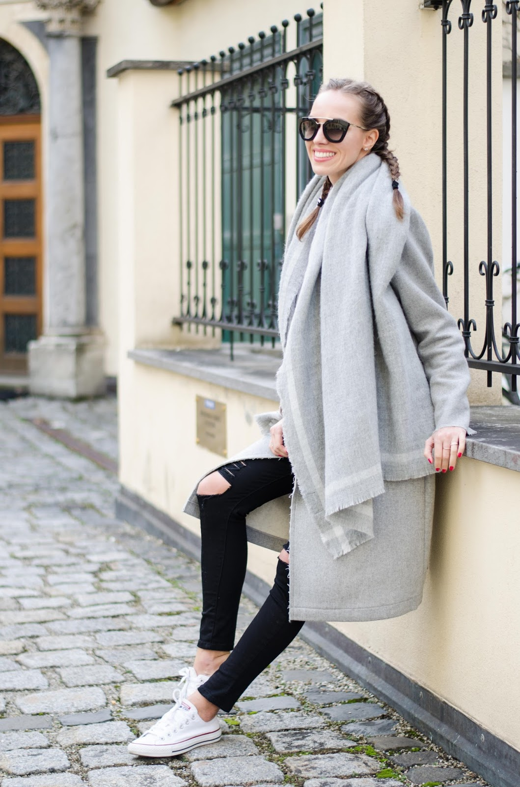 kristjaana mere casual minimal winter outfit french braids