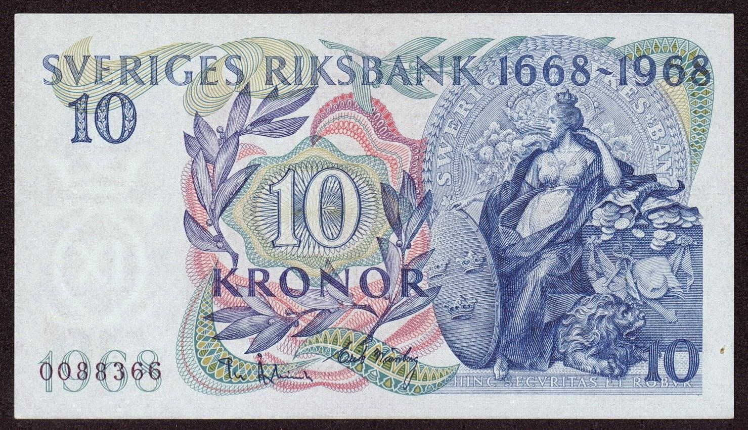 Sweden Currency 10 Swedish Krona Commemorative banknote 300th Anniversary of Sveriges Riksbank 1668-1968