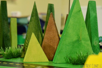 Homemade wooden trees for DIY road table or small world play from And Next Comes L