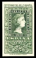 Filatelia - Centenario del Sello español (1950) - Valor de 25 pesetas - Correo aéreo