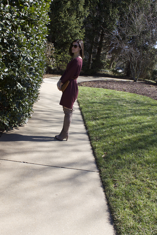 Over the knee boots, tan boots, cocoon dress, Old Navy dress, burgundy dress, tortoise sunglasses, LOFT sunglasses, Who What Wear, Who What Wear x Target, Target, Alex & Ani, arrow ring, gold, clutch