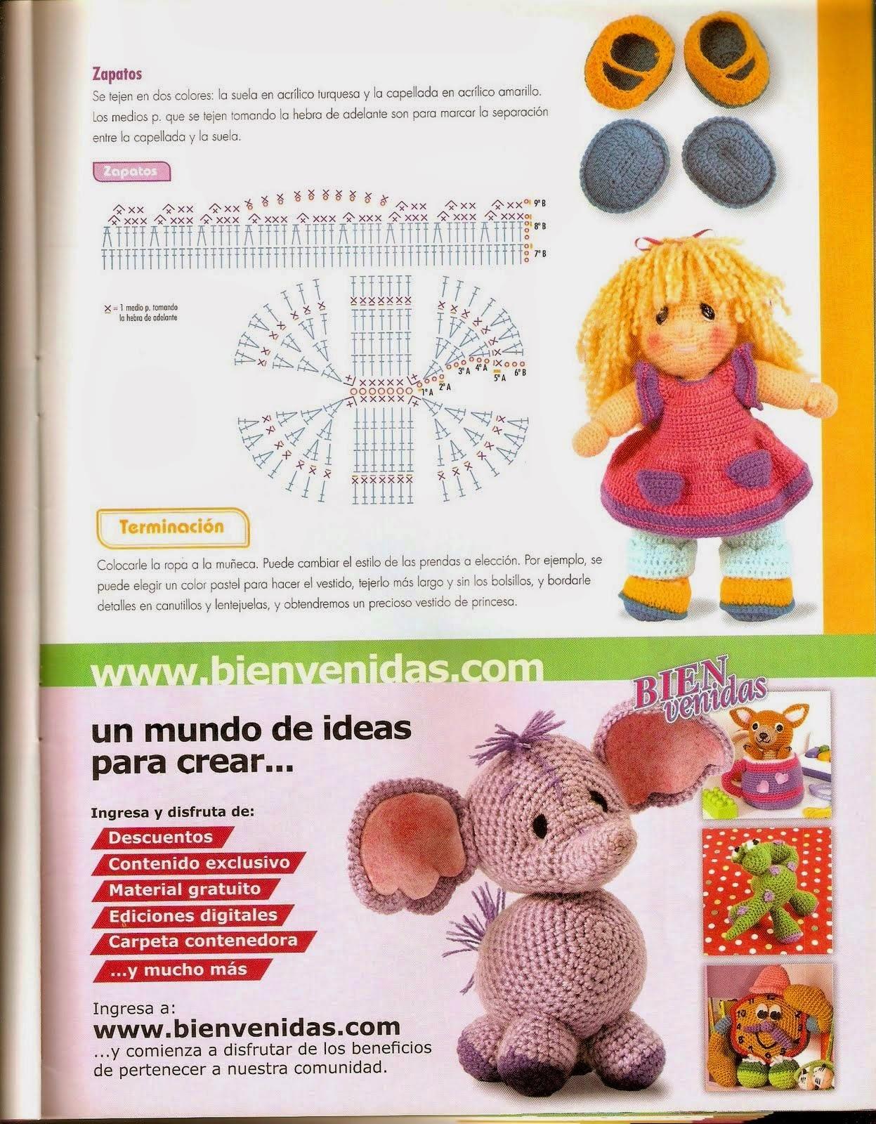 Muñeca pepona al crochet - paso a paso | Crochet y Dos agujas ...