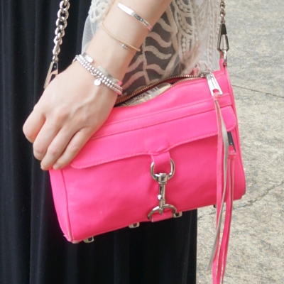 Rebecca Minkoff neon pink mini MAC, black maxi dress | Away From The Blue