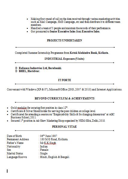 sample marketing resume for freshers marketing mba resume mba