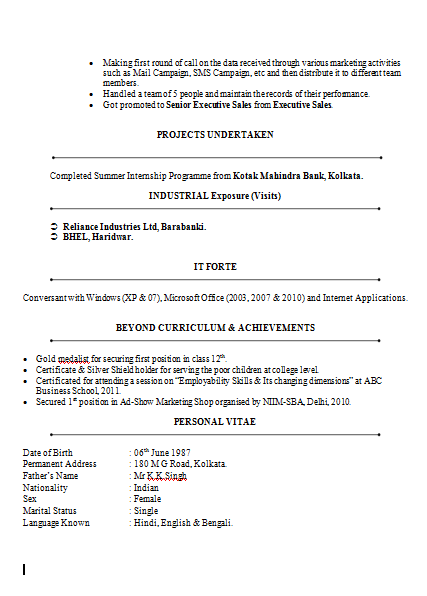 sample resume format for banking sector freshers professional