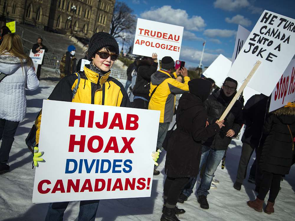 Image result for hijab hoax protest