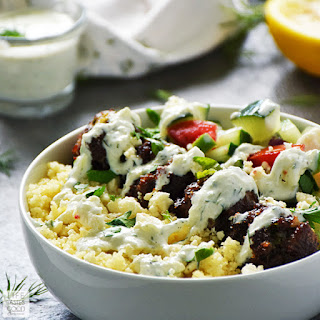 Greek Bowl with Meatballs over Couscous | by Life Tastes Good