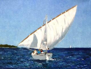 oleo de un barco de vela en Valencia
