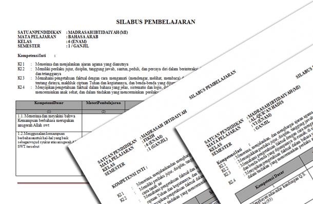 Silabus MI Mapel PAI dan Bahasa Arab Kurikulum 2013 Kelas 1 2 3 4 5 6