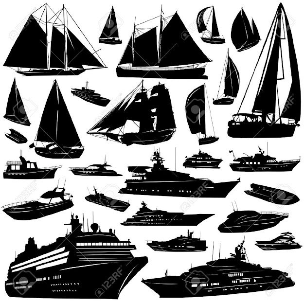 Collection Of Sea Tranportation Vector Cruise Motoryatch Sailing Boat  Stock