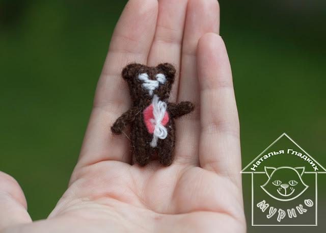 авторская игрушка, вязаная игрушка, вязание спицами,  куколка, детям, подарки любимым, Мурико, мишка
