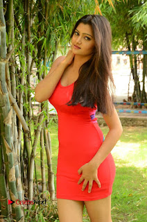 Actress Poojitha  Pictures in Red Short Dress at Bullet Movie Opening  0021