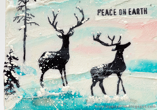 Layers of ink - Winter Deer Canvas Tutorial by Anna-Karin with Tim Holtz STAMPtember exclusives