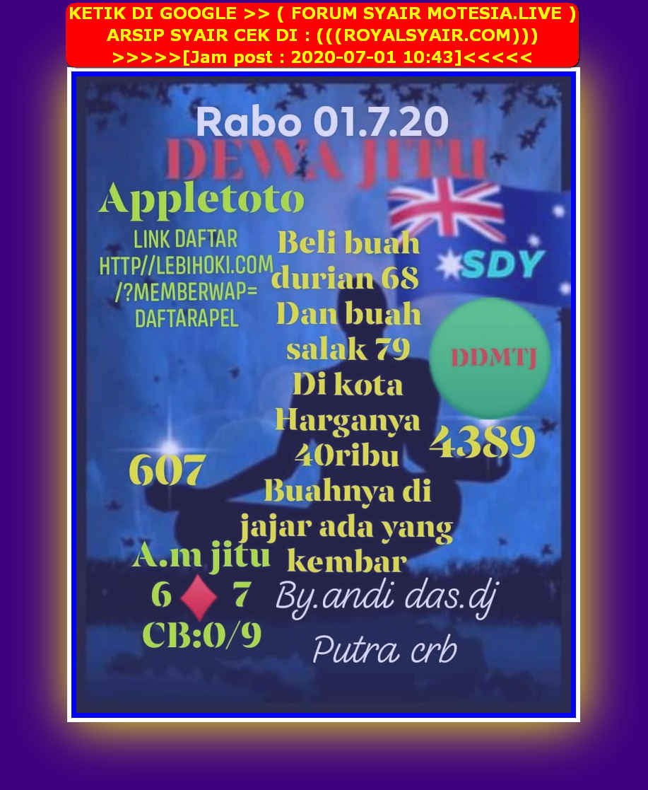 Kode syair Sydney Rabu 1 Juli 2020 22