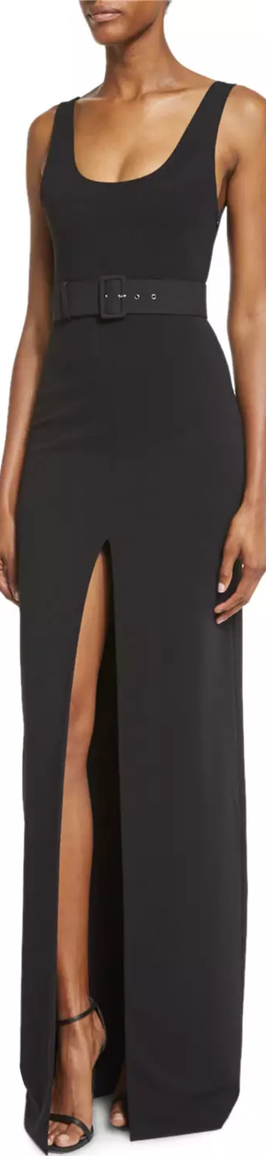 Solace London Tara Belted Stretch Crepe Maxi Dress, Black