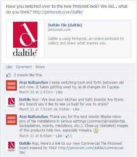 Daltile responds to its Facebook fans' request