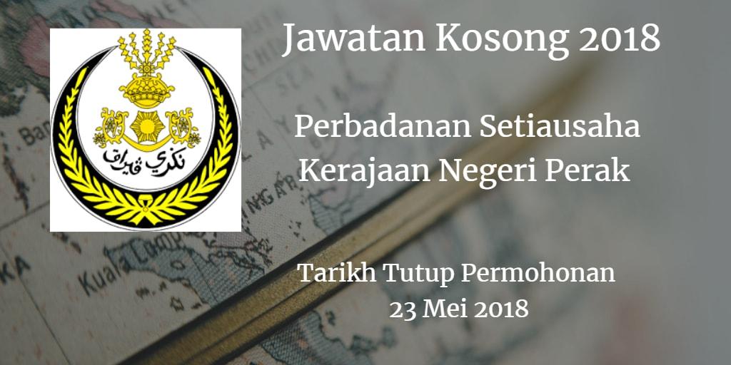 Jawatan Kosong Perbadanan Setiausaha Kerajaan Negeri Perak 23 Mei 2018