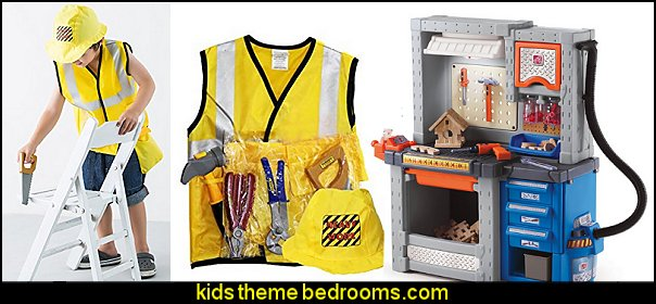 Construction worker pretend play toys and dress up costumes - Workbench for boys pretend play