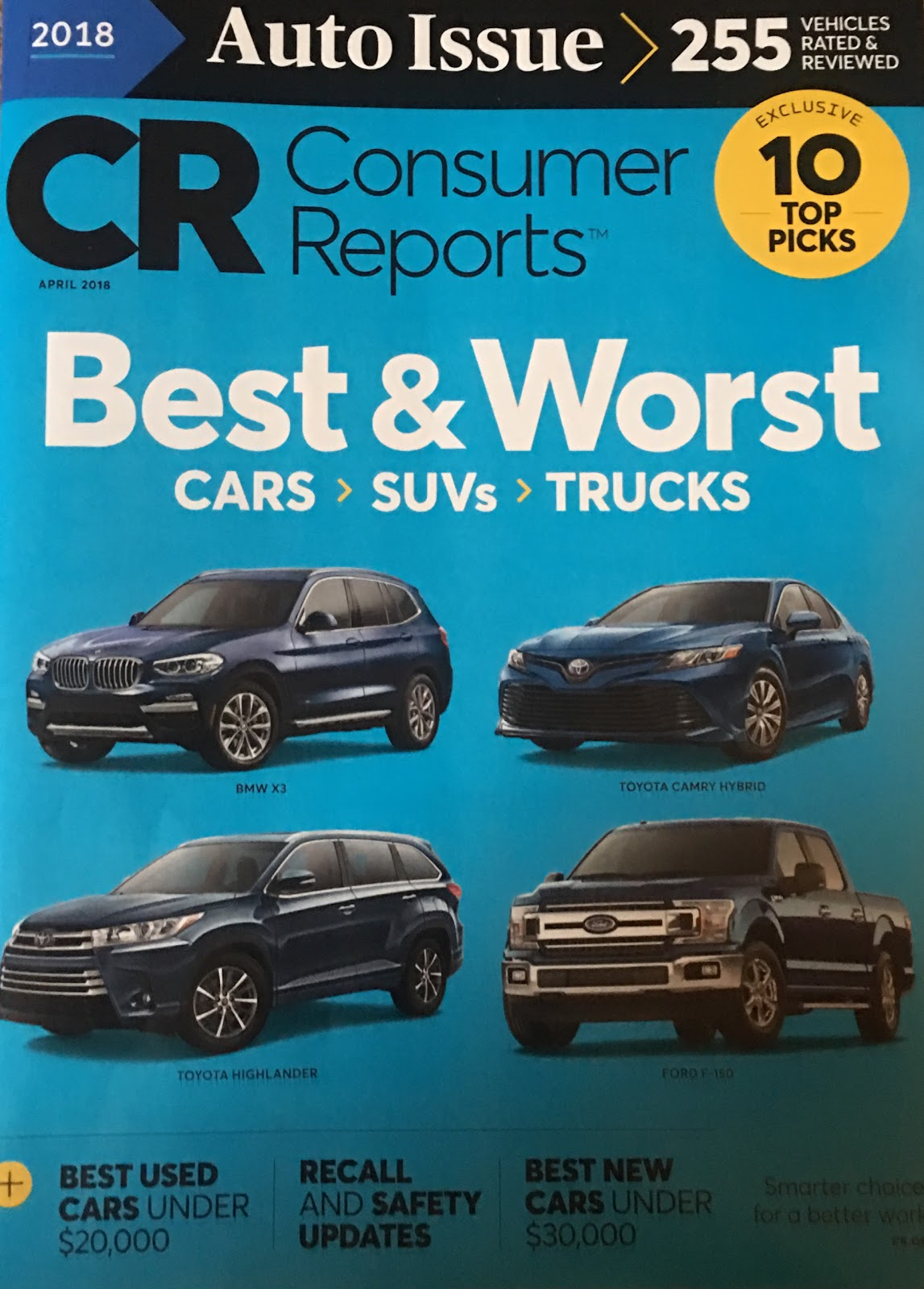 Consumer Reports Annual Auto Issue For 2018 Shows One Gas Electric Hybrid On The Cover And Chevrolet Bolt Is First All Car To Make