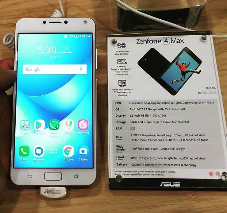 Asus ZenFone 4 Max Now in the Philippines; Octa Core w/ 5000mAh Battery & Dual Rear Cameras for Php9,995