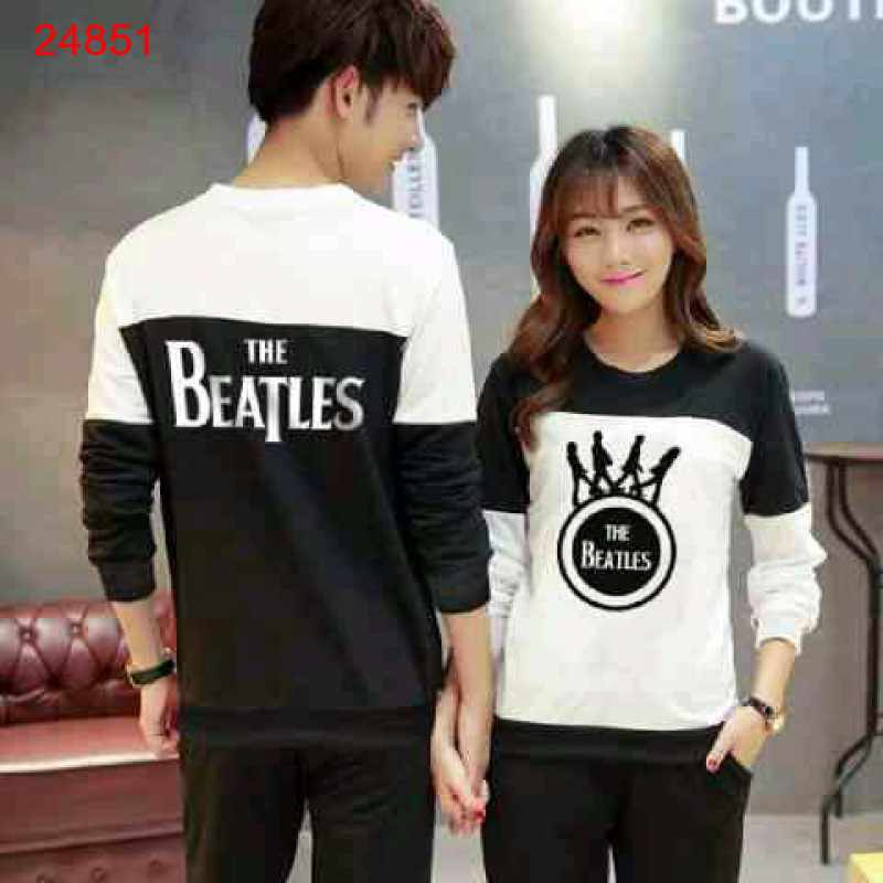 Jual Sweater Couple Sweater Beatles Cross Black White - 24851