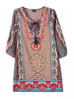 Blusa de media manga con estampado floral
