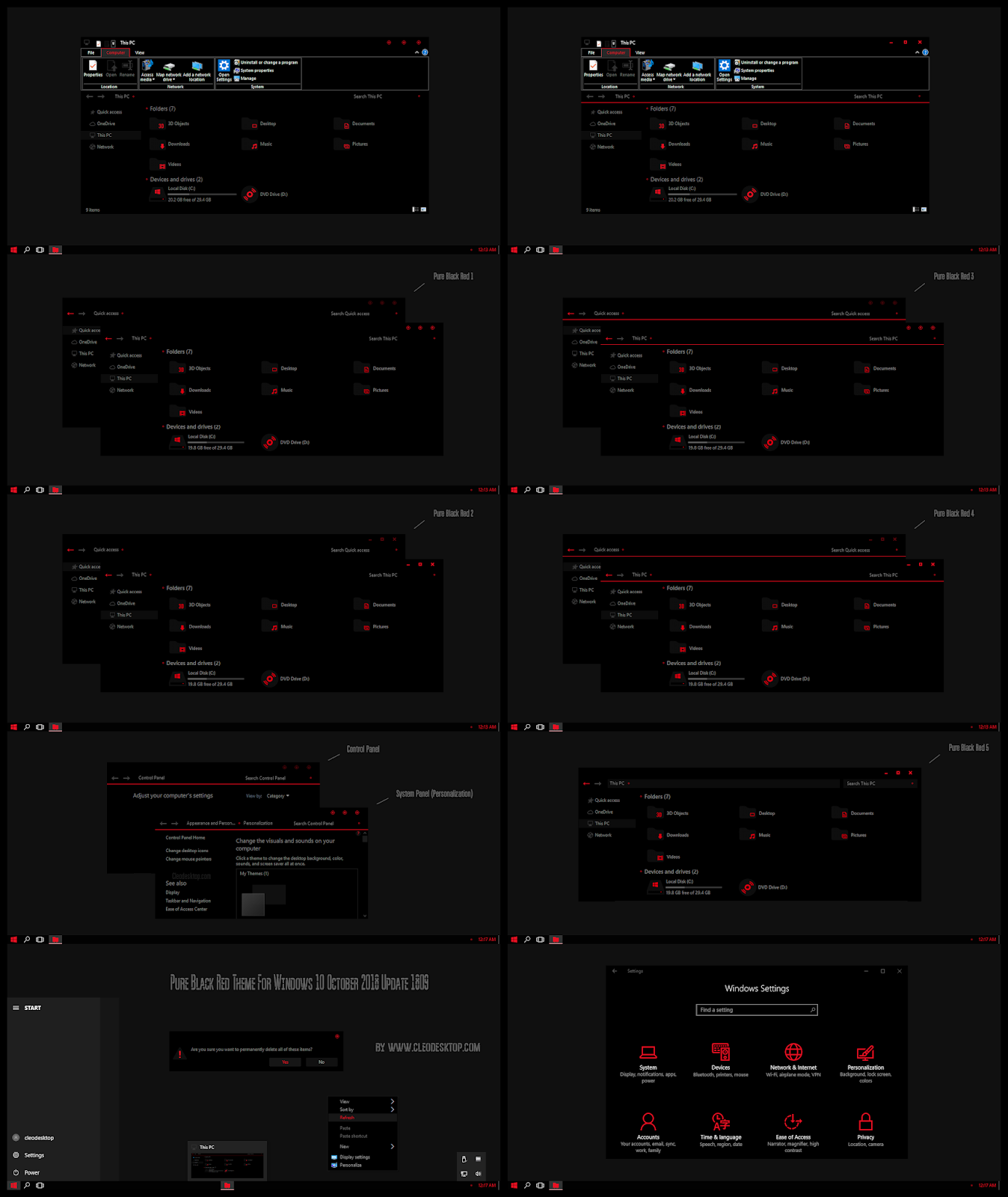 Pure Black Red Theme For Windows 10 October 2018 Update 1809