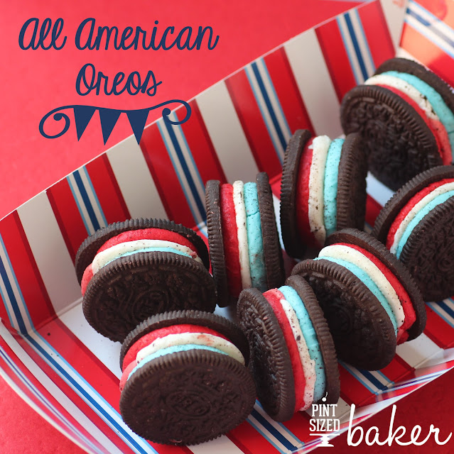 Red, White, and Blue TRIPLE stuffed Oreo Cookies!
