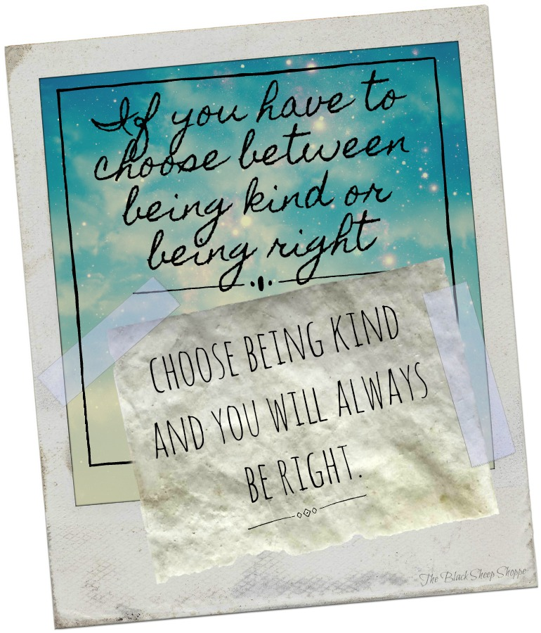 If you have to choose between being kind or being right, choose being kind and you will always be right.
