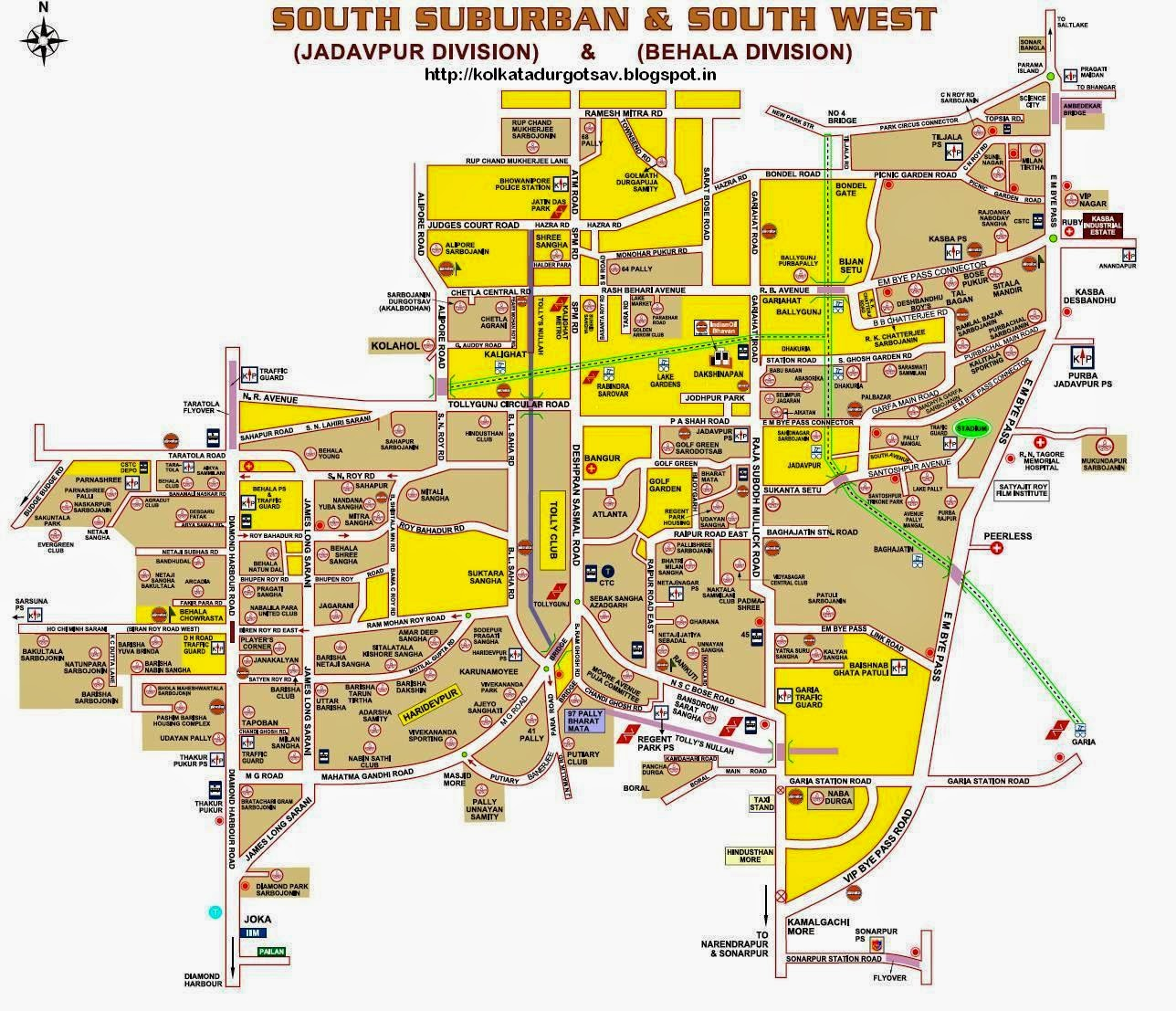 South Suburban and South West Kolkata Map