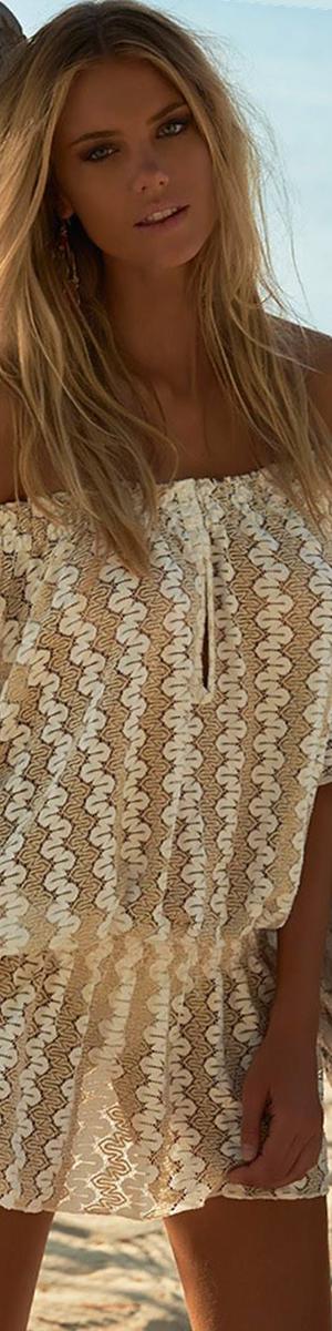 MELISSA ODABASH NICOLETTE OFF-SHOULDER SHORT DRESS CREAM/GOLD
