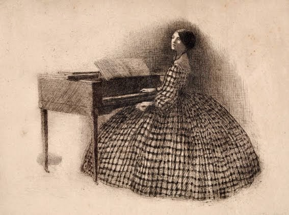 Blanche at square piano