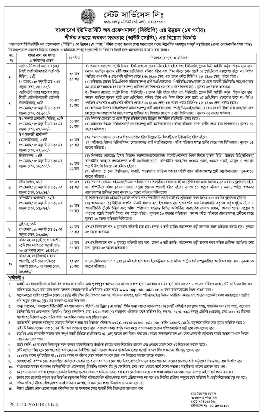 Bangladesh University of Professionals (BUP) Job Circular 2018