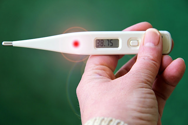 Thermometer showing ratings of fever