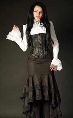 A popular Victorian era skirt style, the trumpet silhouette emphasizes the hourglass figure