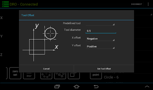 Android Digital Readout tool offset function