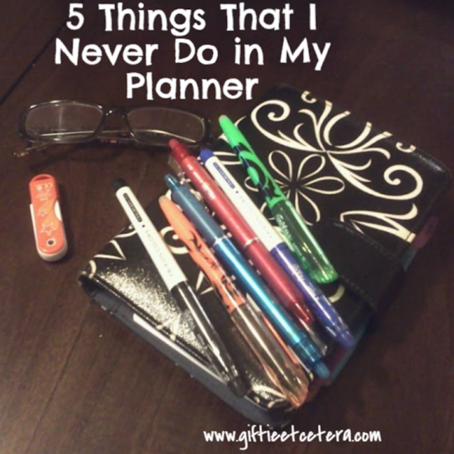 planner; flourish; glasses; orange jump drive; Frixion pens