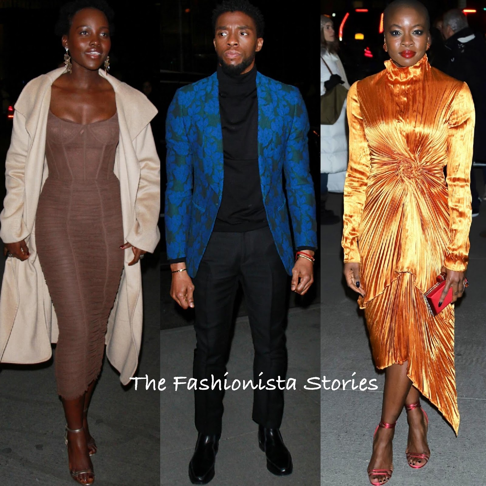 Lupita Nyong O Chadwick Boseman Danai Gurira At The Black Panther Ny Screening