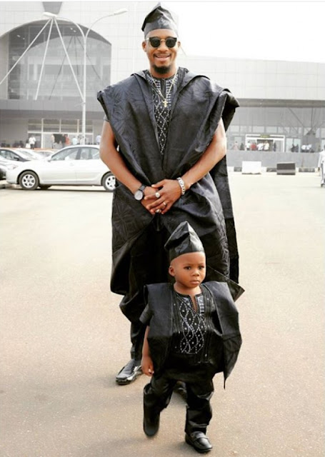 Nollywood Star Jnr Pope And Son 'Own' This African Aso-Ebi Attires