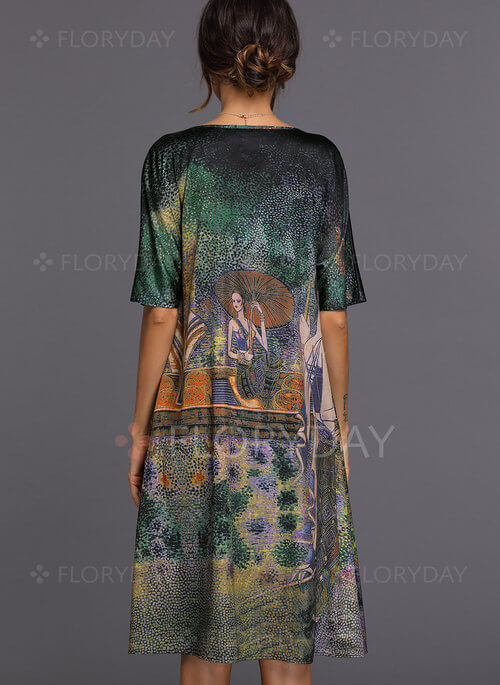Half Sleeve Knee-Length Shift Dress