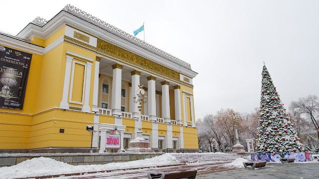 Almaty Opera House in winter