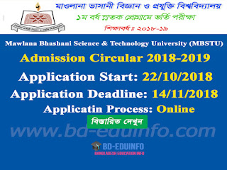 Mawlana Bhashani Science & Technology University Admission Circular 2018-2019